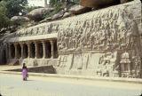Granite rock-cut sculpture and shrine entrance from Mahabalipuram, Tamil Nadu, India, ca. 7th century A.D