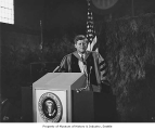 President John F. Kennedy speaking at the University of Washington, Seattle, 1961