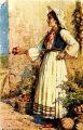 Illustration of woman in costume, Dalmatia region, Croatia (former Yugoslavia), circa 1930-1937