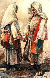 Illustration of women in costume, Dalmatia region, Croatia (former Yugoslavia), circa 1930-1937